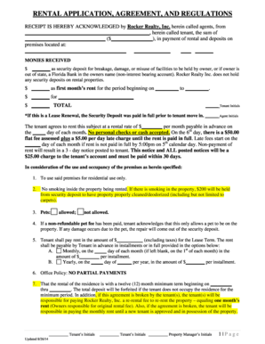 RENTAL APPLICATION AGREEMENT AND REGULATIONS