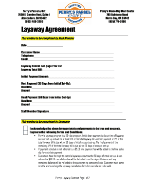 Fillable Online Layaway Agreement Form Home Perrys Parcel