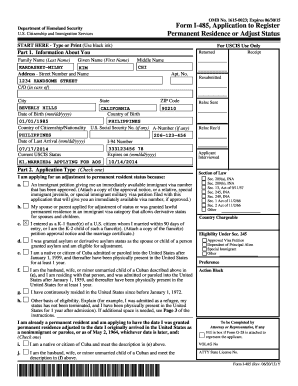 uscis form i-485 Templates - Fillable & Printable Samples for PDF ...