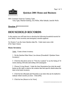 Editable quicken home inventory and emergency records organizer