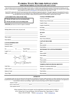 FORM FOR RECORDING SALTWATER GAME FISH CATCHES I AM