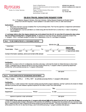 DS-2019 TRAVEL SIGNATURE REQUEST FORM