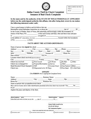 Fillable Online dallascounty Check Complaint Form - Dallas