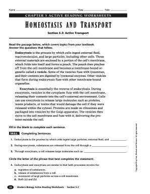 Homeostasis cell transport skills worksheet answers