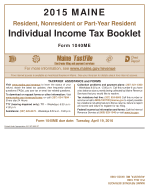 2015 bForm 1040b ME Instructions Booklet - Mainegov - maine