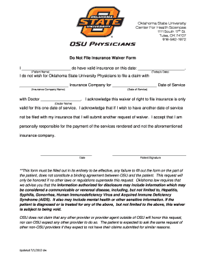 Fillable Online Do Not File Insurance Waiver Form - OSU-CHS