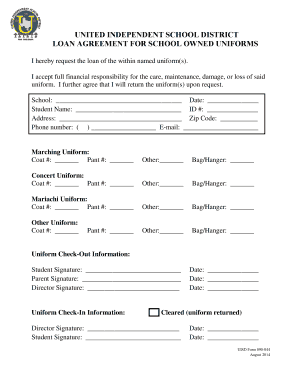 UNITED INDEPENDENT SCHOOL DISTRICT LOAN AGREEMENT FOR  Loan Template Word