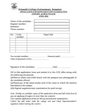 Fillable Online sjc ac APPLICATION FOR SUPPLEMENTARY EXAMINATION