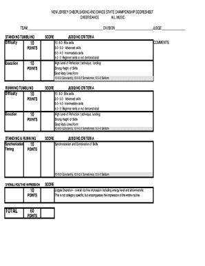 cheerleading judging criteria - Printable Templates to Fill