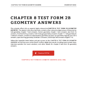 Geometry Chapter 8 Test Form A Answer Key - Fill Online, Printable