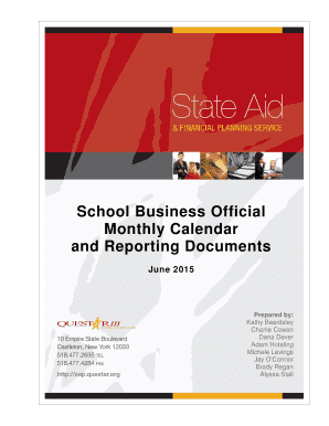 School Business Official Monthly Calendar