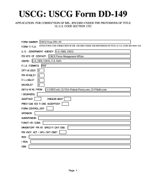 Fillable Online USCG Form DD-149. APPLICATION. FOR CORRECTION OF ...