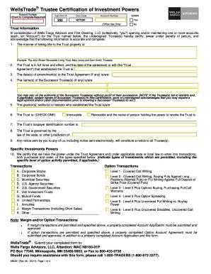 Fillable Online WellsTrade Trustee Certification of
