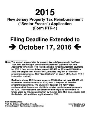 2015-2017 Form NJ Form PTR-1 Fill Online, Printable, Fillable ...