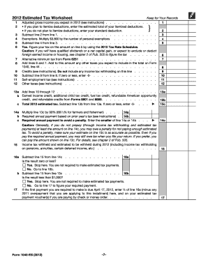 Form 1040-ES Rev May 2012 Estimated Tax for Individuals