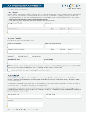 Sigature Usforex Ach - Fill Online, Printable, Fillable, Blank | PDFfiller