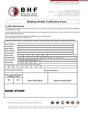 Bhf Banking Details Verification Form