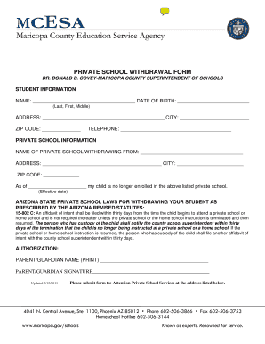 Fillable Online diocesephoenix PRIVATE SCHOOL WITHDRAWAL FORM Fax ...