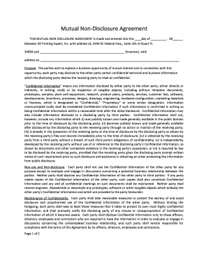 Mutual Non Disclosure Agreement Purpose Fill Out Online