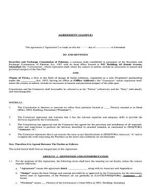 Printable Sample Financial Agreement Between Two Parties