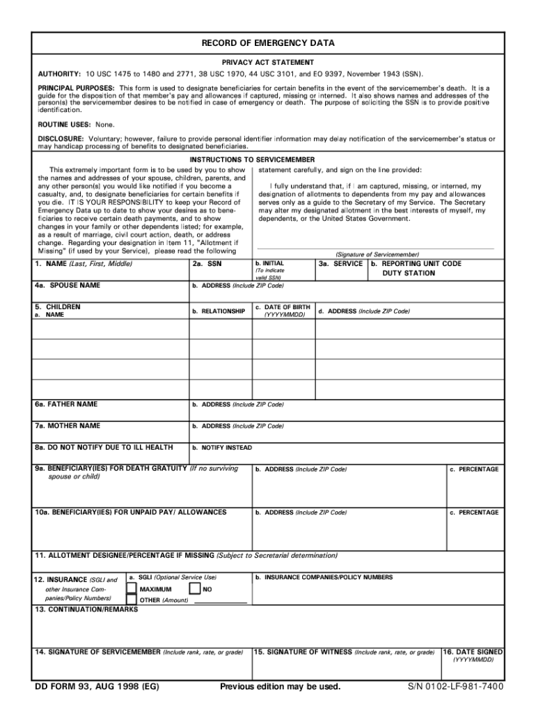 1998 Form DD 93 Fill Online, Printable, Fillable, Blank