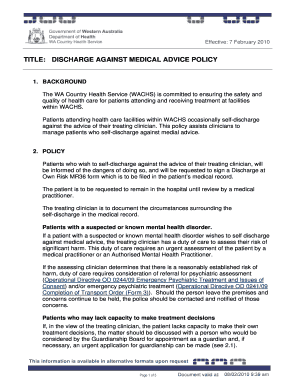 against medical advice form  Sample Medical Advice Forms - 7+ Documents Download IN PDF , WORD