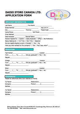 Fillable Online DAISO STORE CANADA LTD APPLICATION FORM Fax Email ...