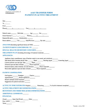 Fillable Online AAO TRANSFER FORM PATIENT IN ACTIVE TREATMENT Fax ...