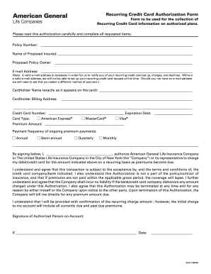 Recurring Credit Card Authorization Form Form to be used - benefitstore