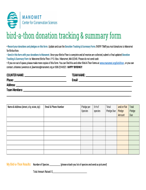 Bird-a-thon donation tracking summary form - Manomet Inc