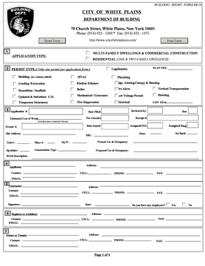Fillable Online Building Short Form - White Plains Fax Email Print ...