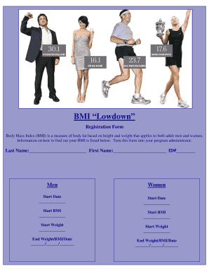 BMI Lowdown registration form BMI chart and information