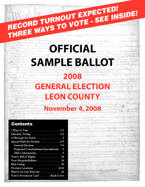 Fillable Online leonvotes Sample Ballot Flyer - Leon County ... on sample government forms, texas election forms, sample ballots, election ballot forms, generic benefit election forms,