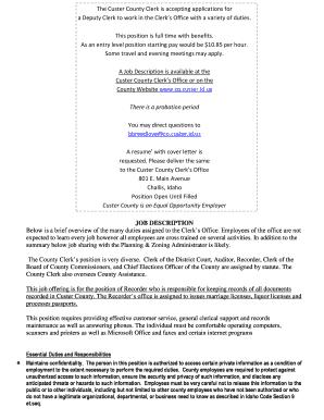 cover letter for probation clerk - Fill Out Online, Download ...