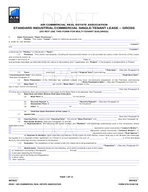 fillable online air commercial real estate association standard
