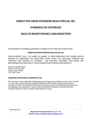 Fillable Online Ambetter From Superior Health Plan Inc Texas 003