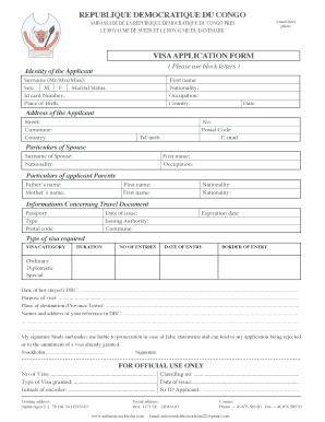 Fillable Online Visa Application Form Acceuil Ambassade De La Fax Email Print Pdffiller
