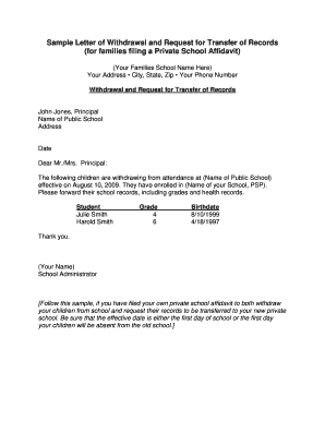 sample letter of withdrawal and request for transfer of