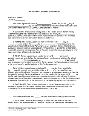Printable Short Term Residential Lease Agreement Fill Out