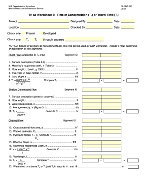 Fillable Online TR 55 Worksheet 3 Time of Concentration bTcb or ...
