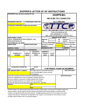 shippers letter of instructions totaltranscom
