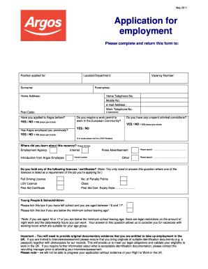 argos application form