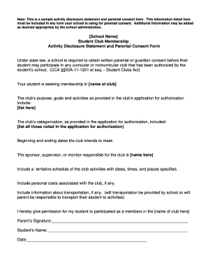 Fillable sample of consent form for parents edit online print note this is a sample activity disclosure statement and parental consent form thecheapjerseys Gallery