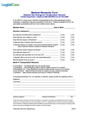 Fillable Online Medical Necessity Form - Logisticare Inc Fax Email ...