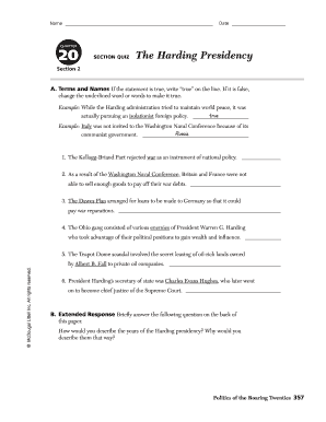 Chapter 20 Section 2 The Harding Presidency Flashcards ...