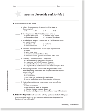 photo about Preamble Printable referred to as Portion Quiz Preamble And Write-up 1 Alternatives - Fill On-line