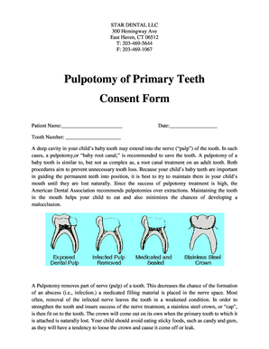 Fillable online pulpotomy of primary teeth consent form 12 month rate this form altavistaventures Image collections