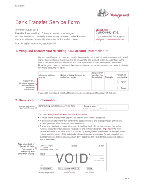Fillable Online Bank Transfer Service Form - The Vanguard Group ...