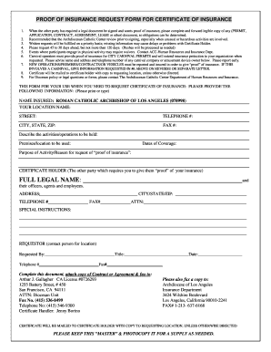 Proof of insurance request form for certificate of insurance fill preview of sample diocesan form rating yadclub Choice Image