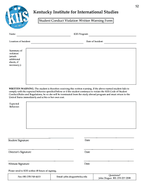 Printable warning letter sample for violation of rules and s2 kentucky institute for international studies student conduct violation written warning form name kiis program location altavistaventures Gallery